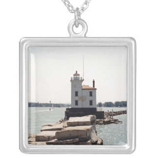 Lake Erie Lighthouse Square Pendant Necklace