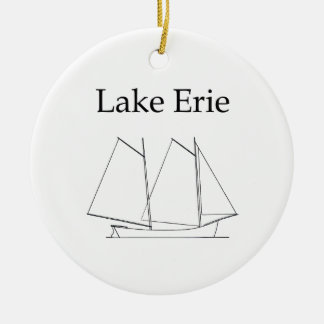 Lake Erie Sailboat Round Ceramic Decoration