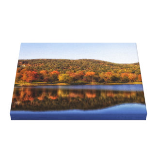 Lake fall stretched canvas prints