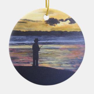 Lake fishing christmas ornament