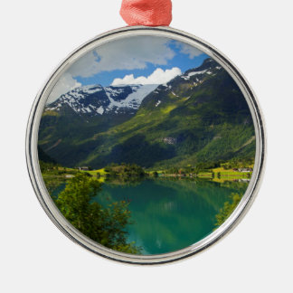 Lake Floen scenic, Norway Silver-Colored Round Decoration