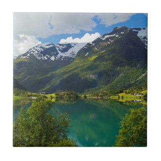 Lake Floen scenic, Norway Tile