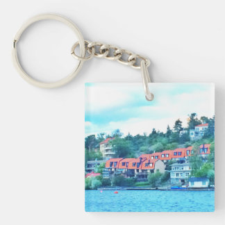 Lake front houses, Sweden Key Ring