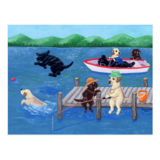 Lake Fun Labradors Painting Postcard