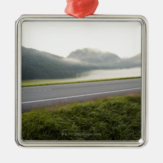 lake fuschl, salzkammergut, salzburg, salzburger 3 Silver-Colored square decoration