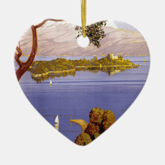 Lake Garda Ceramic Heart Decoration