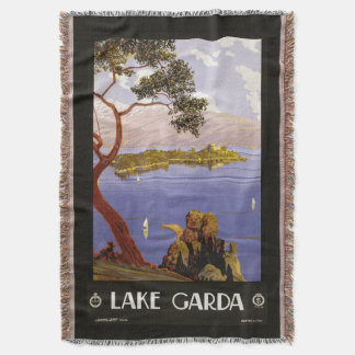 Lake Garda Italy vintage travel throw blanket