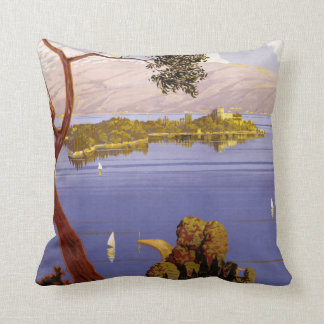 Lake Garda Italy vintage travel throw pillow
