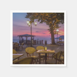 Lake Garda spectacular sunset Disposable Napkin