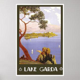 """""""Lake Garda"""" Vintage Italian Travel Poster"""