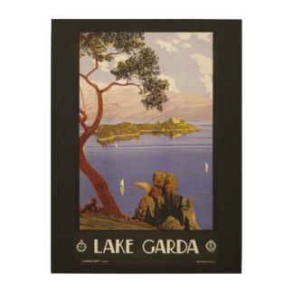 Lake Garda vintage travel wood canvas