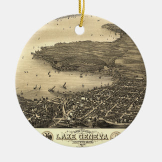 Lake Geneva Vintage Map Christmas Ornament