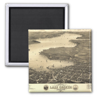 Lake Geneva Vintage Map Magnet