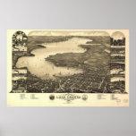Lake Geneva WI 1882 Antique Panoramic Map