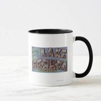 Lake Geneva, Wisconsin - Large Letter Scenes Mug
