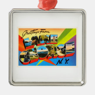 Lake George New York NY Vintage Travel Souvenir Silver-Colored Square Decoration