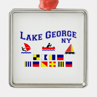 Lake George NY Signal Flags Silver-Colored Square Decoration