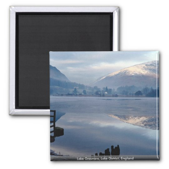 Lake Grasmere, Lake District, England Square Magnet