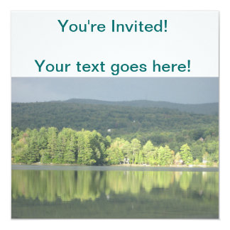 Lake Green Trees Reflection 13 Cm X 13 Cm Square Invitation Card