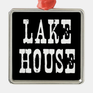 Lake House Black Christmas Ornament