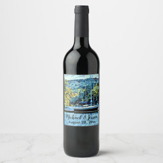 Lake House Boat Wedding Thank You Favors Wine Label