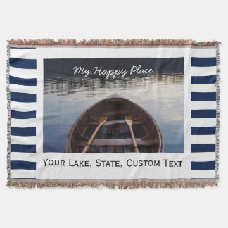Lake House Custom Photo My Happy Place Striped Throw Blanket