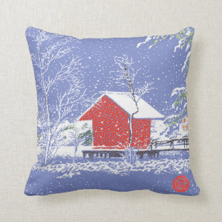 Lake House in the Snow Custom Throw Pillow