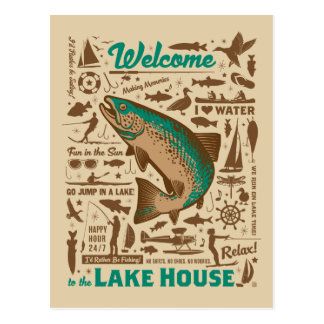 Lake House Pattern Postcard