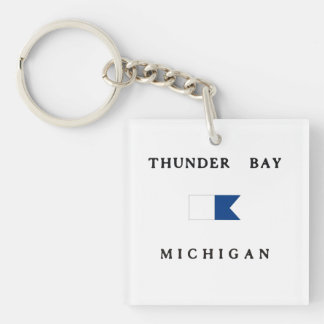 Lake Huron Michigan Alpha Dive Flag Double-Sided Square Acrylic Key Ring