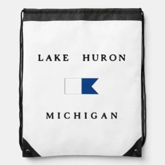 Lake Huron Michigan Alpha Dive Flag Drawstring Bag