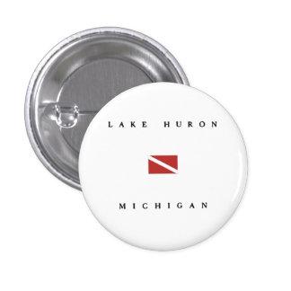 Lake Huron Michigan Scuba Dive Flag Pinback Button