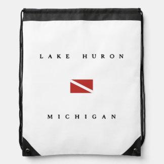 Lake Huron Michigan Scuba Dive Flag Drawstring Backpack
