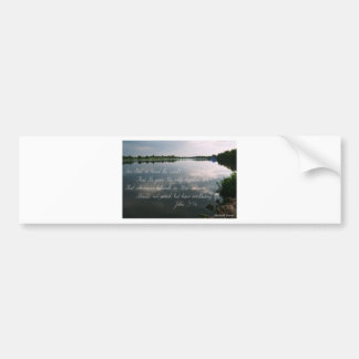 Lake image with John 3 16 scripture Bumper Stickers