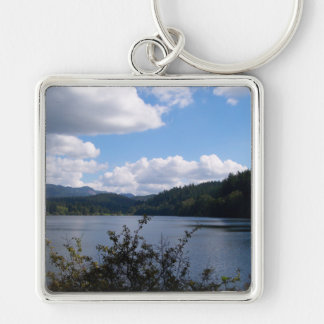 Lake In The City Silver-Colored Square Key Ring