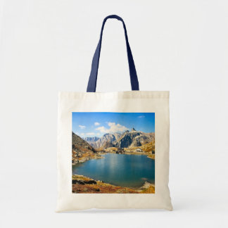 Lake in the high mountains tote bag