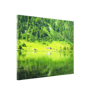 """Lake """" in the mountains""""Lake green fores Gallery Wrapped Canvas"""