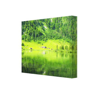 """Lake """" in the mountains""""Lake green fores Canvas Print"""