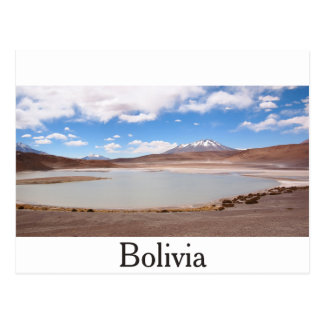 Lake landscape on the Altiplano text postcard