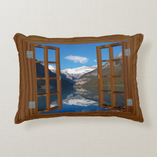 Lake Louise Mountain Reflection Lake Faux Window Decorative Cushion