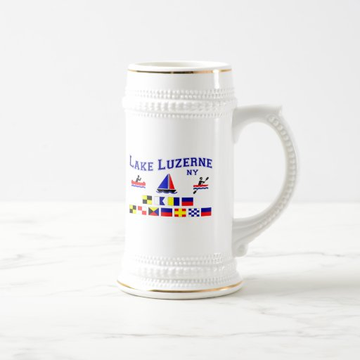 Lake Luzerne NY Signal Flags Coffee Mug