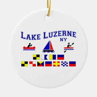 Lake Luzerne NY Signal Flags Round Ceramic Decoration