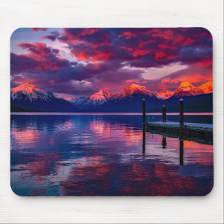 Lake McDonald, Glacier National Park red sky Mouse Mat