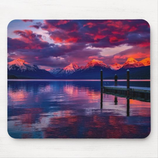 Lake McDonald, Glacier National Park red sky Mouse