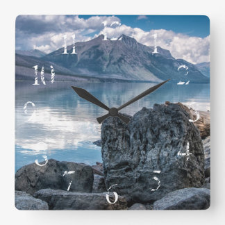Lake McDonald Square Wall Clock