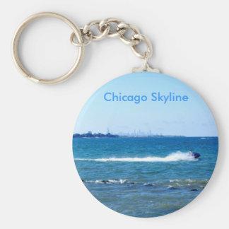 Lake Michigan Basic Round Button Key Ring