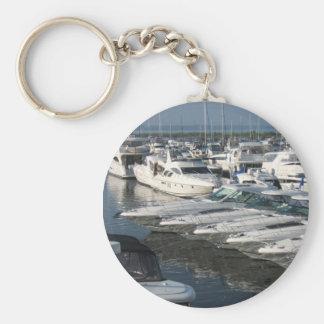 Lake Michigan Boating Basic Round Button Key Ring