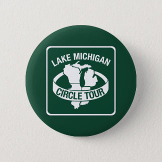 Lake Michigan Circle Tour, Sign, Wisconsin, USA 6 Cm Round Badge