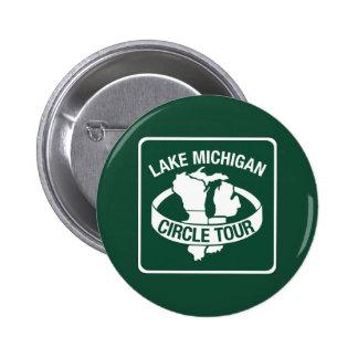 Lake Michigan Circle Tour, Sign, Wisconsin, USA 6 Cm Round Badge