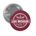 Lake Michigan, custom town, name, anchor, paddles 3 Cm Round Badge