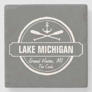 Lake Michigan, custom town, name, anchor, paddles Stone Coaster